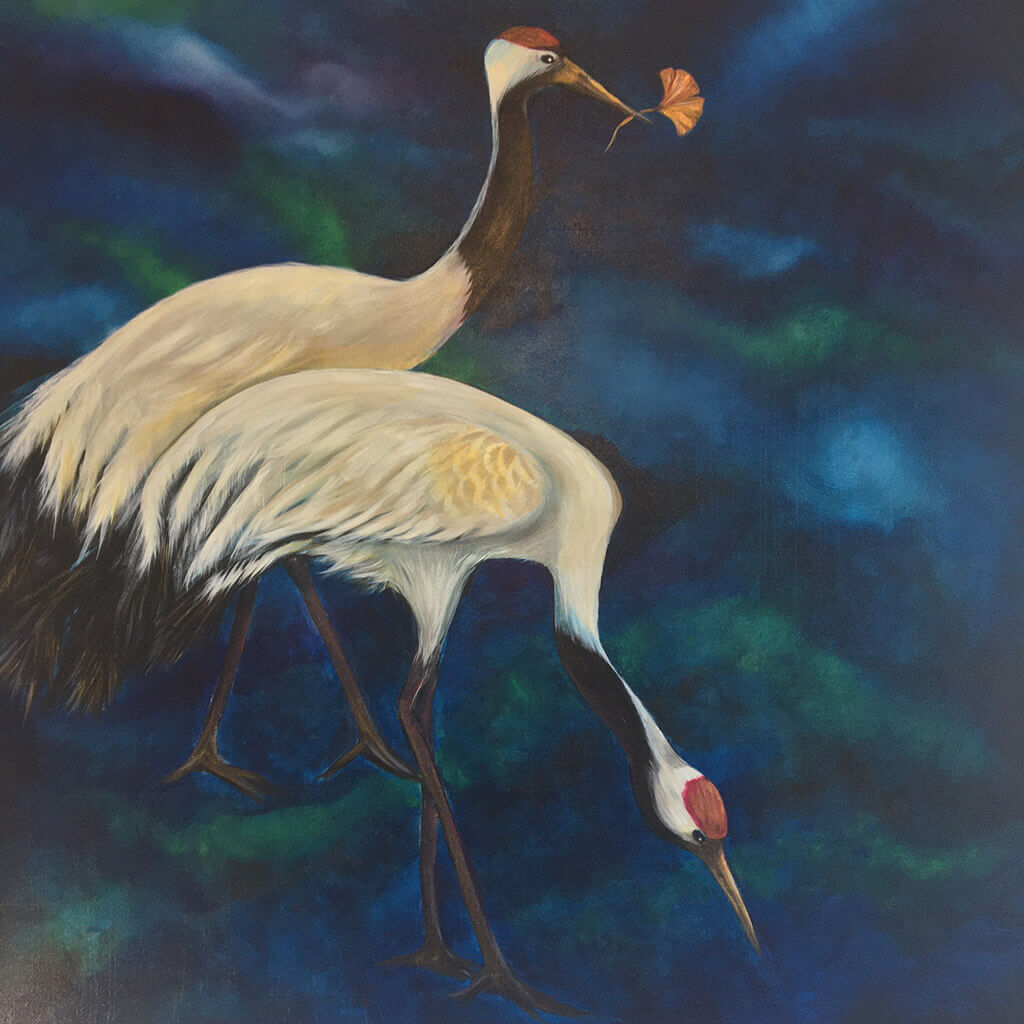 Eternity by Helen Trevisiol Duff acrylic on canvas painting of red crowned crane birds against a dark blue green background