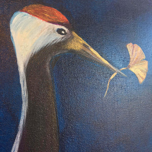 Eternity by Helen Trevisiol Duff acrylic on canvas painting of red crowned crane birds detail of bird head