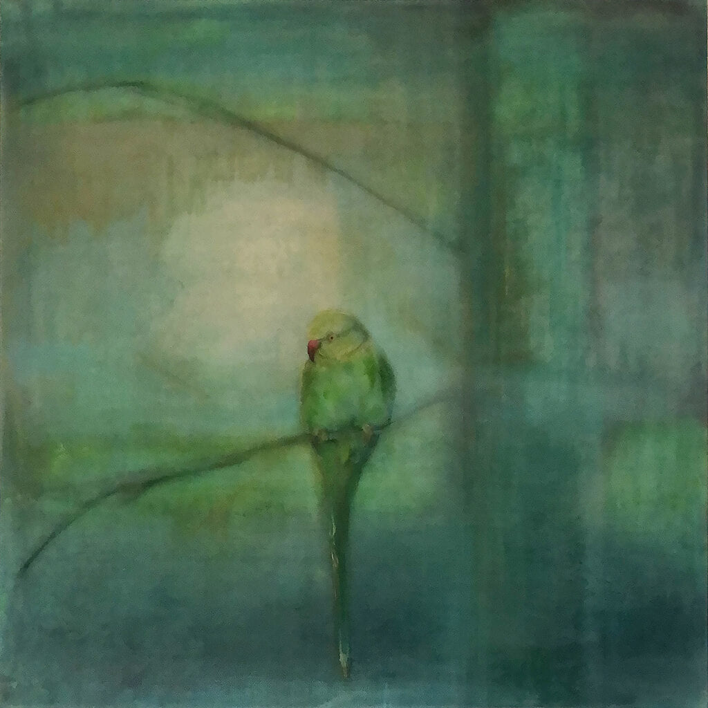 Evening Light original acrylic and pastel mixed media artwork of a green parakeet bird by London artist Sarita Keeler