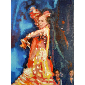 Spanish flamenco dancer dancing in Seville Spain oil on canvas original artwork by portrait painter Stella Tooth