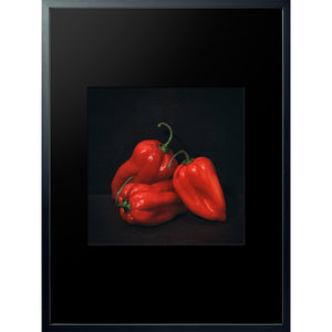 Dutch Masters 07 3 red peppers still life framed 60x80cm by Michael Frank