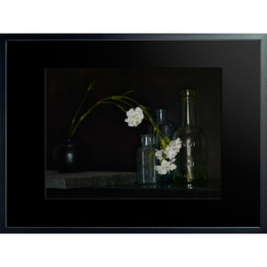 Dutch Masters still life with bottles and flowers framed 60x80cm by Michael Frank
