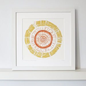 Grooved in Ochre & Burnt Orange by Sarah Knight White Frame