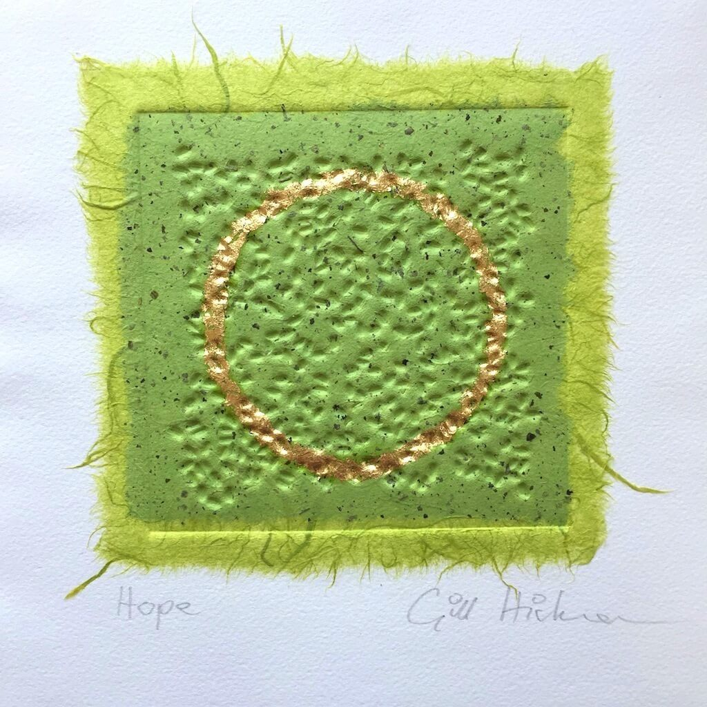Hope original embossed collage in green with a circle in gold leaf by London textural artist Gill Hickman