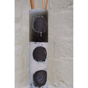 Incised Circles Vase by Caroline Nuttall-Smith one of a kind hand built black stoneware cylinder vase featuring incised clay slip line