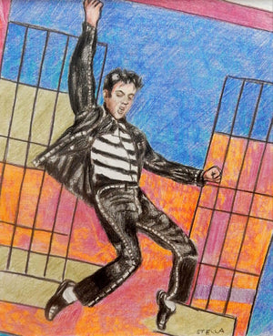 Jailhouse Rock oil on canvas painting of singer Elvis Presley by Stella Tooth