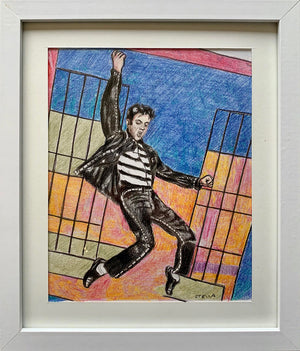 Jailhouse Rock oil on canvas painting of singer Elvis Presley by Stella Tooth display