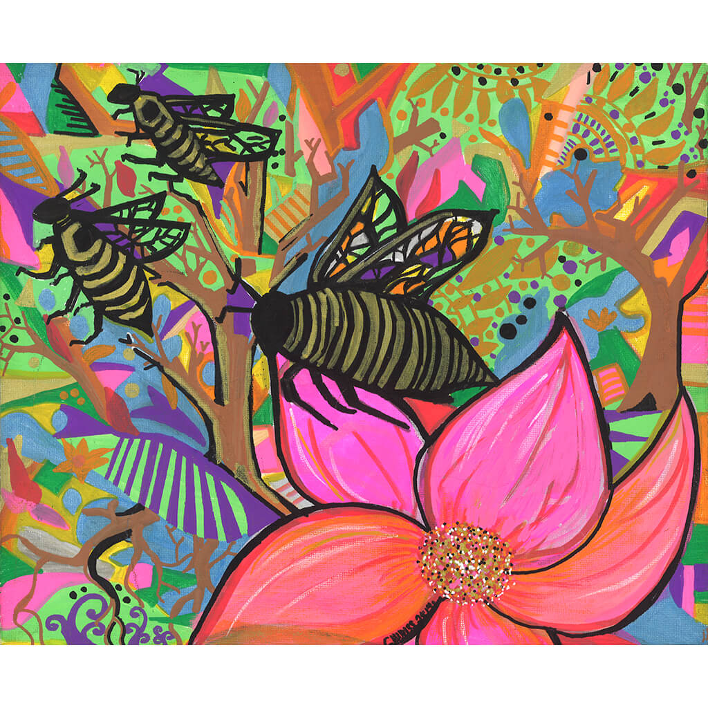 Pollen by Joel Sydenham is an original acrylic on canvas painting of bees and flowers in bright colours including green, orange and pink.