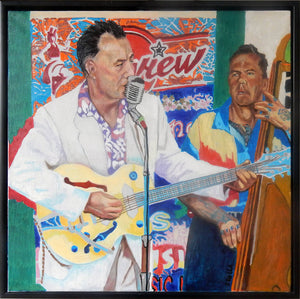 Johnny Gunner and the Raiders music band performing live oil on canvas in frame artwork by Stella Tooth