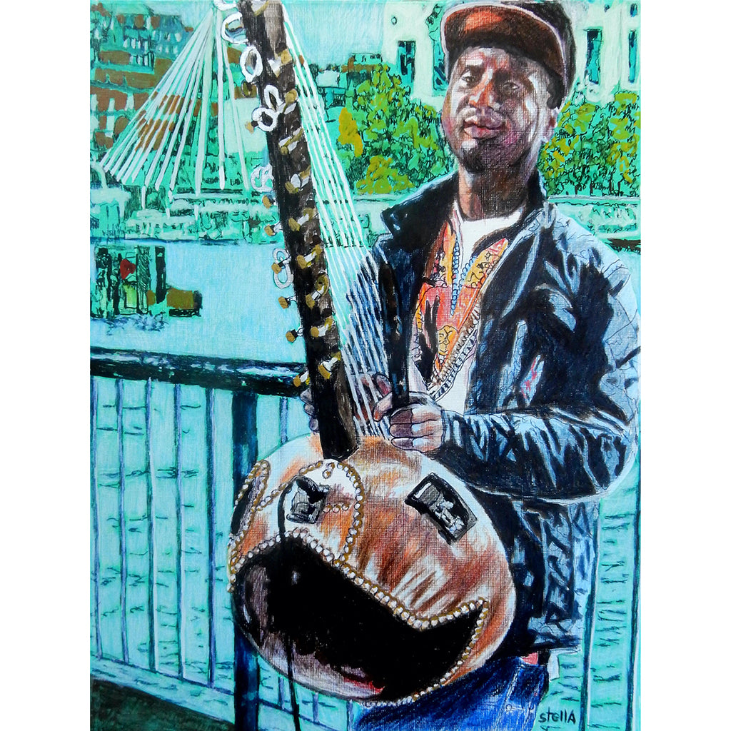 West African kora player musician performing on London's South Bank mixed media drawing on paper artwork by Stella Tooth