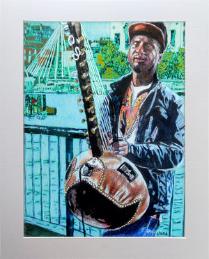 West African kora player musician performing on London's South Bank mixed media drawing on paper artwork by Stella Tooth display