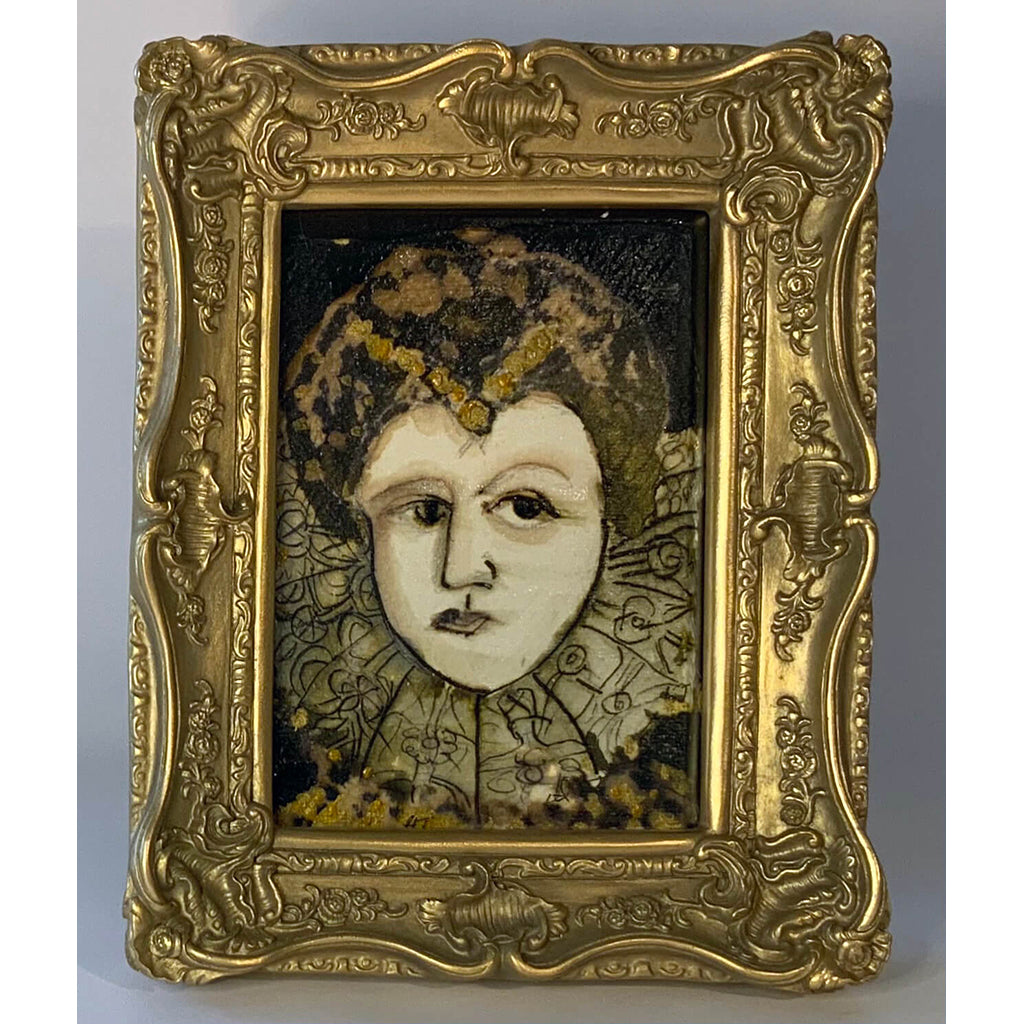 Lady Of the Manor by mixed media figurative artist Heather Tobias pen ink and bleach drawing in an ornate gilded frame
