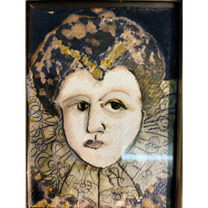 Lady Of the Manor by mixed media figurative artist Heather Tobias pen ink and bleach drawing in an ornate gilded frame portrait