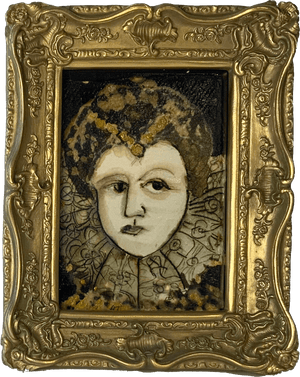 Lady Of the Manor by mixed media figurative artist Heather Tobias pen ink and bleach drawing in an ornate gilded frame Wall