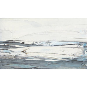 Landscape in Icelandic White is an original oil painting by artist Sarah Knight in soft green, blue, grey and turquoise. Available framed or unframed.