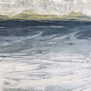Landscape in Inchyra by Sarah Knight original semi-abstract mini oil artwork palette knife painting in shades of grey blue and green