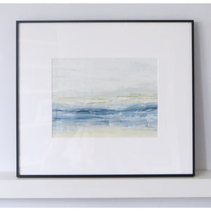 Landscape in Pale Powder by Sarah Knight original semi-abstract mini oil artwork palette knife painting in shades of grey blue and white