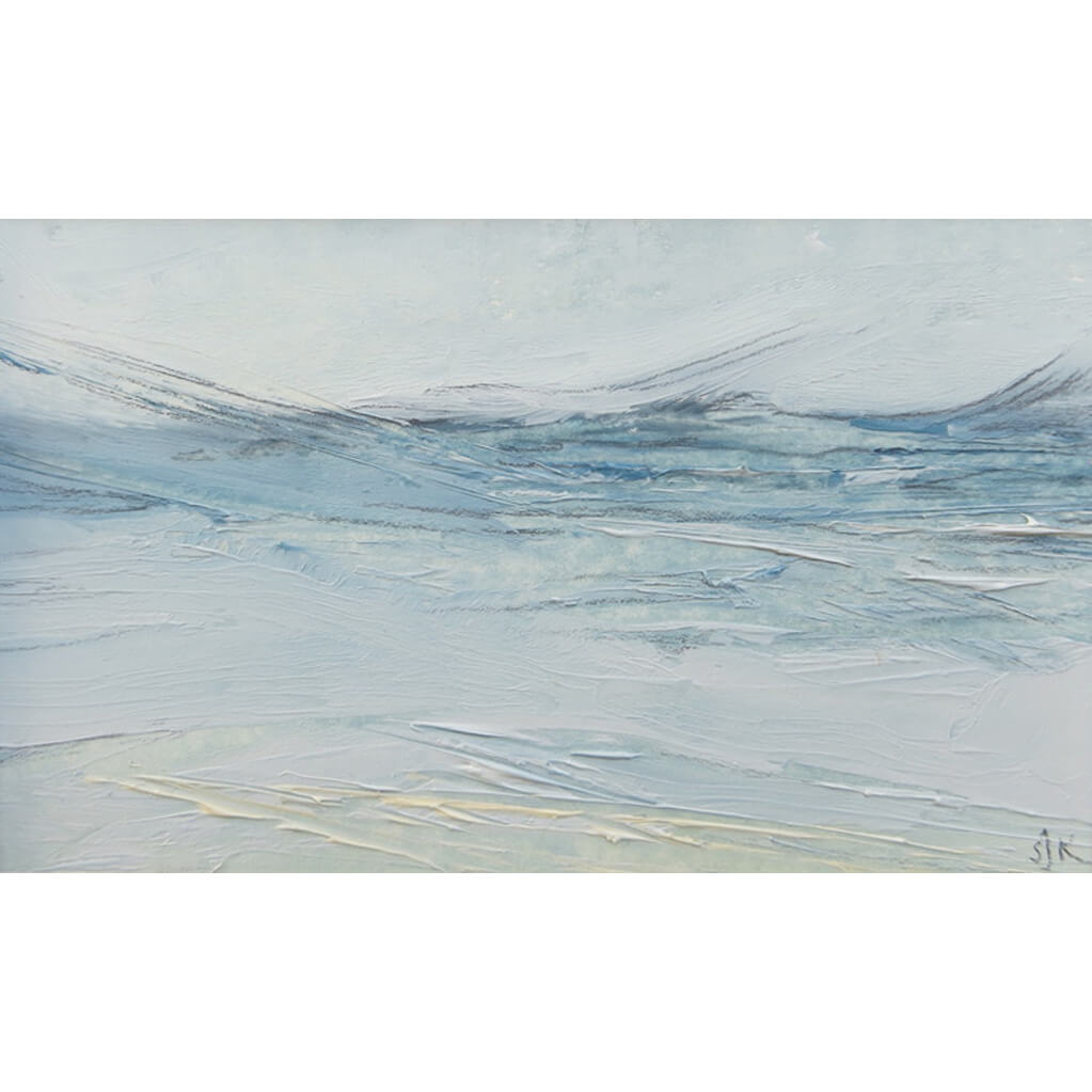Original oil painting by artist Sarah Knight in soft greens, blues and turquoise. Available framed or unframed.