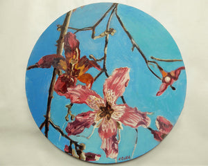 Lillies Original Round Oil Painting Artwork by Stella Tooth