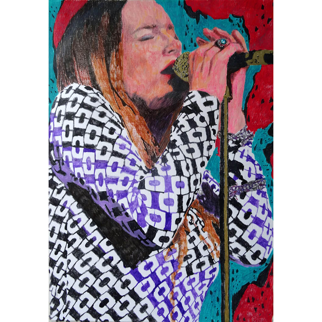 Lynne Jackaman musician and singer performing at the Half Moon Putney mixed media drawing on paper artwork by Stella Tooth