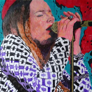 Lynne Jackaman musician and singer performing at the Half Moon Putney mixed media drawing on paper artwork by Stella Tooth Detail