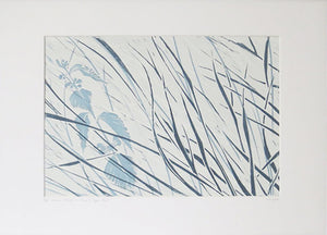 Denham Grasses in Stone & Hague Blue by Sarah Knight in Mount