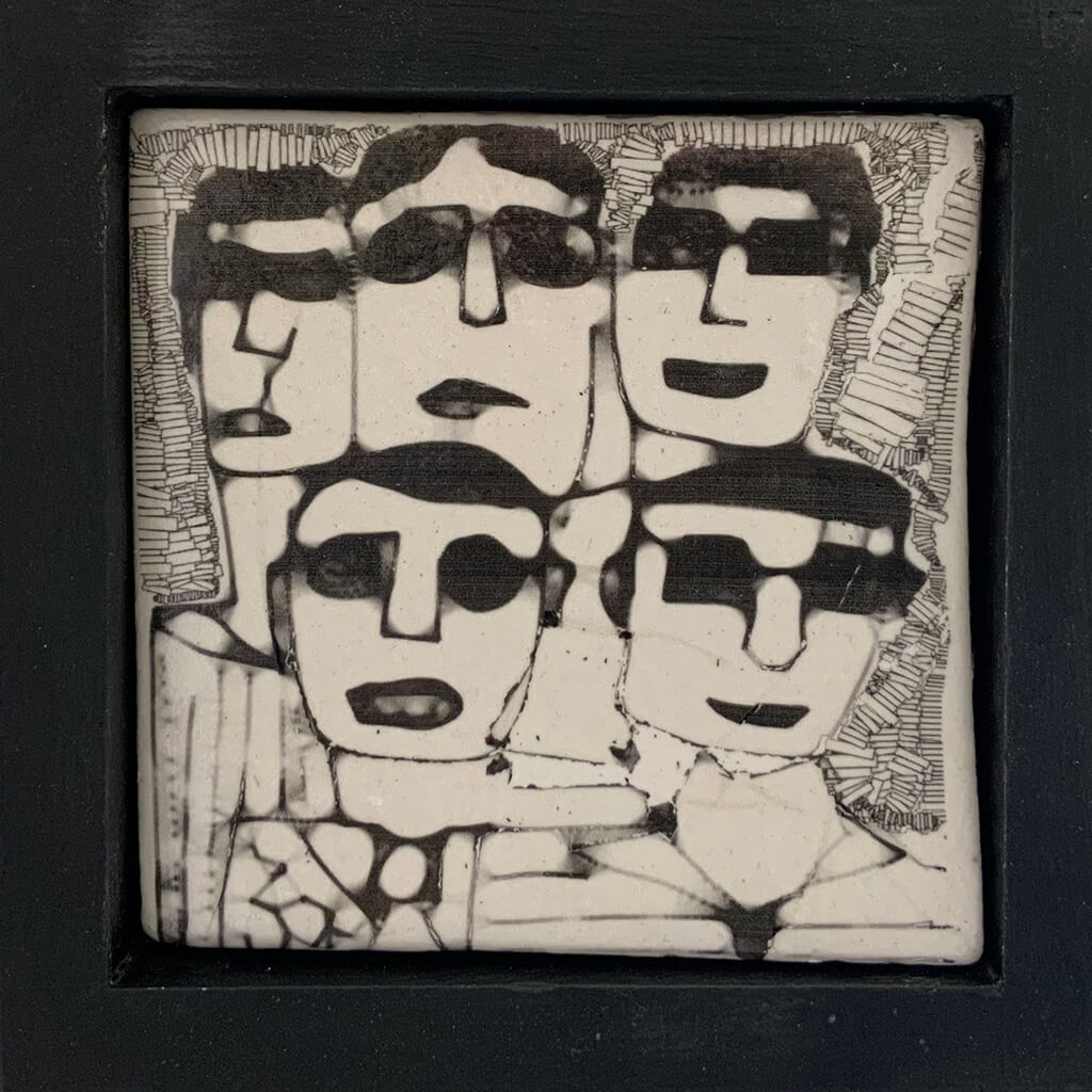 Men in Dark Glasses by Heather Tobias is a one of a kind porcelain framed handmade glazed tile comprising an original drawing