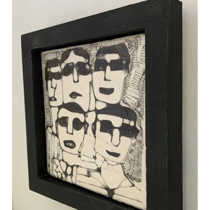 Men in Dark Glasses by Heather Tobias is a one of a kind porcelain framed handmade glazed tile comprising an original drawing side