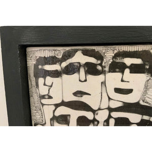 Men in Dark Glasses by Heather Tobias is a one of a kind porcelain framed handmade glazed tile comprising an original drawing detail