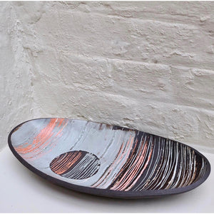Mono Print Circle Oval Dish by ceramic artist Caroline Nuttall-Smith hand built, one-off black stoneware dish with mono printed clay slip