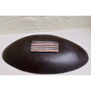 Mono Print Circle Oval Dish by ceramic artist Caroline Nuttall-Smith hand built, one-off black stoneware dish with mono printed clay slip bottom