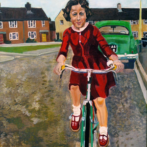 My first bike ride oil on canvas artwork by Stella Tooth