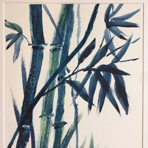 Navy Oriental Bamboo by Helen Trevisiol Duff Watercolour