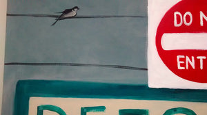 No Way Out by Sarita Keeler Mixed Media Acrylic Bird Detail