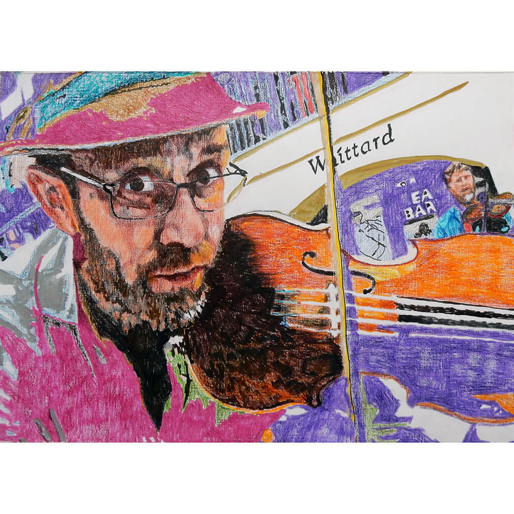 Oopsie Mamushka musician busking in Covent Garden mixed media drawing on paper original artwork by Stella Tooth