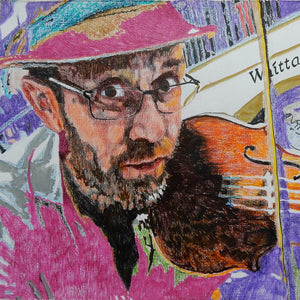 Oopsie Mamushka musician busking in Covent Garden mixed media drawing on paper original artwork by Stella Tooth Detail