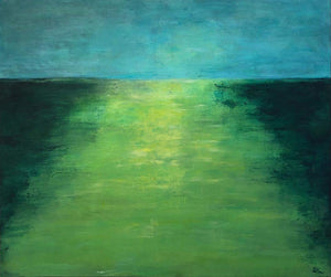 Green Landscape by Sarita Keeler Acrylic Painting Display