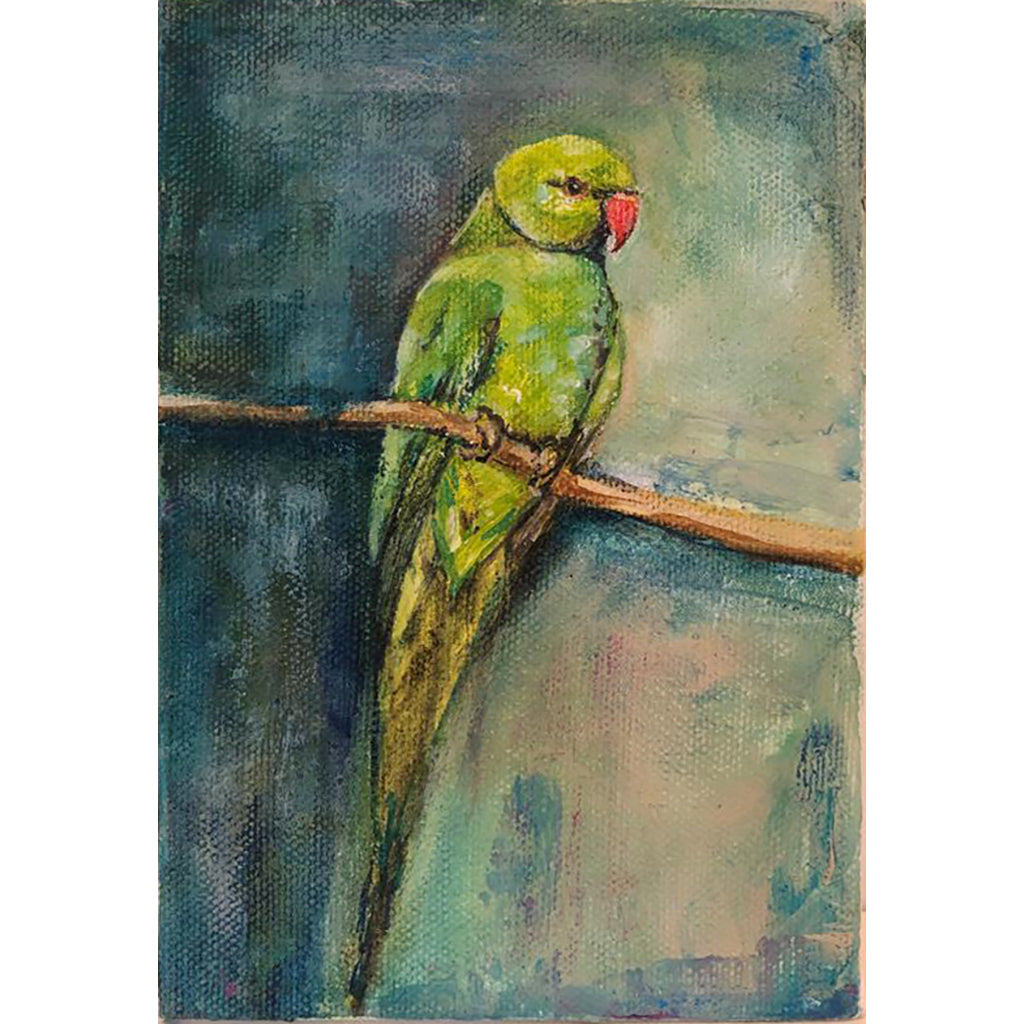 Parakeet original acrylic and pastel mixed media artwork of a green parakeet bird by London artist Sarita Keeler