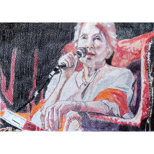 Peggy Seeger musician and singer performing at the Half Moon Putney original drawing on paper artwork by Stella Tooth