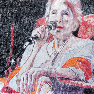 Peggy Seeger musician and singer performing at the Half Moon Putney original drawing on paper artwork by Stella Tooth Detail