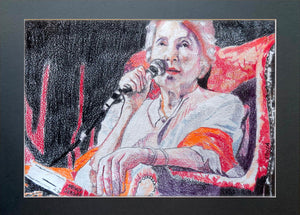 Peggy Seeger musician and singer performing at the Half Moon Putney original drawing on paper artwork by Stella Tooth Display
