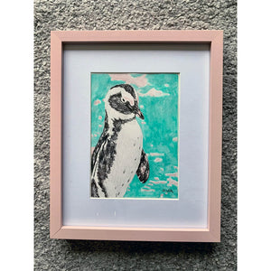 Percy Penguin original drawing by Stella Tooth in frame