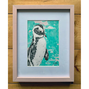 Percy Penguin original drawing by Stella Tooth framed