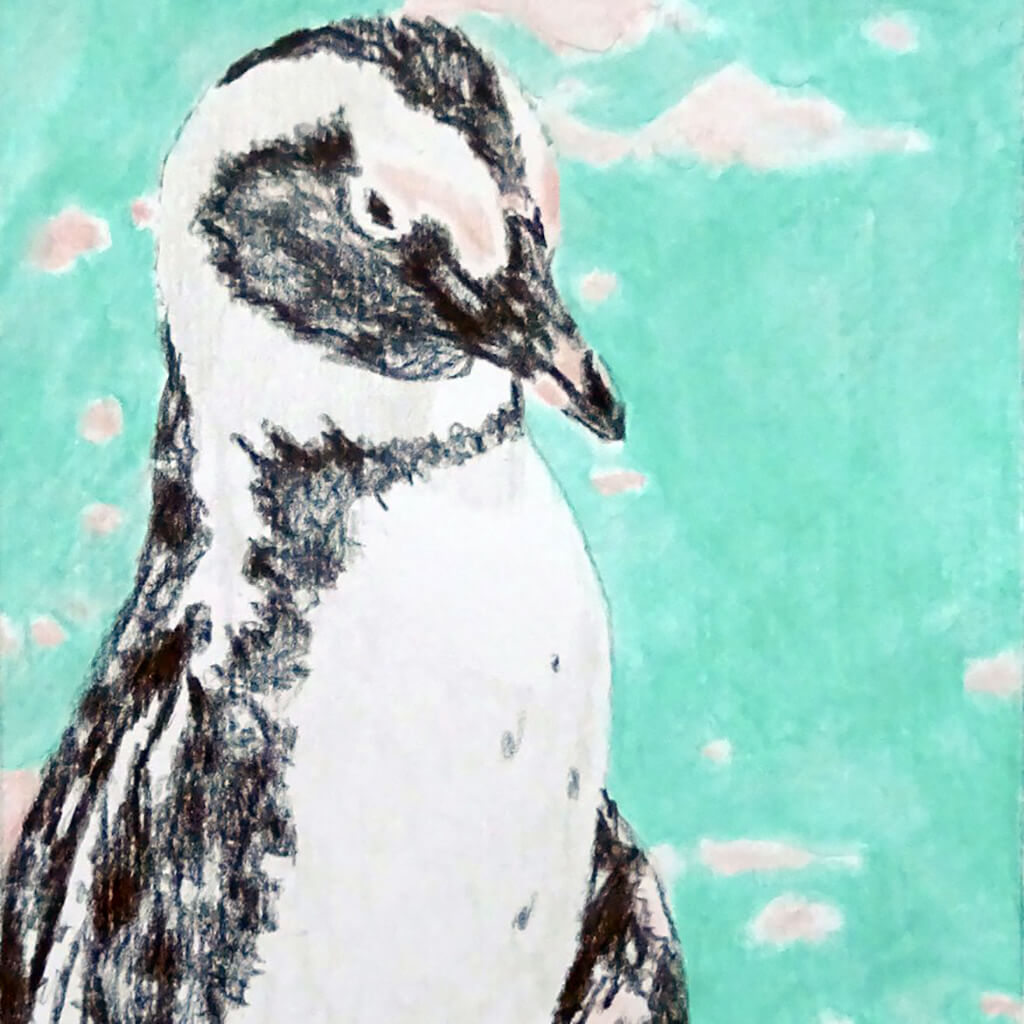 Percy Penguin original drawing in frame by Stella Tooth