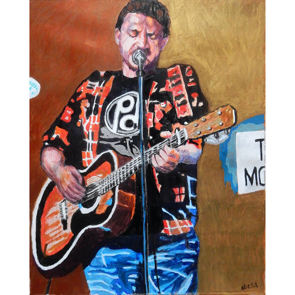Peter Donegan at the Half Moon Putney Mixed media on paper of musician by London based performer artist Stella Tooth