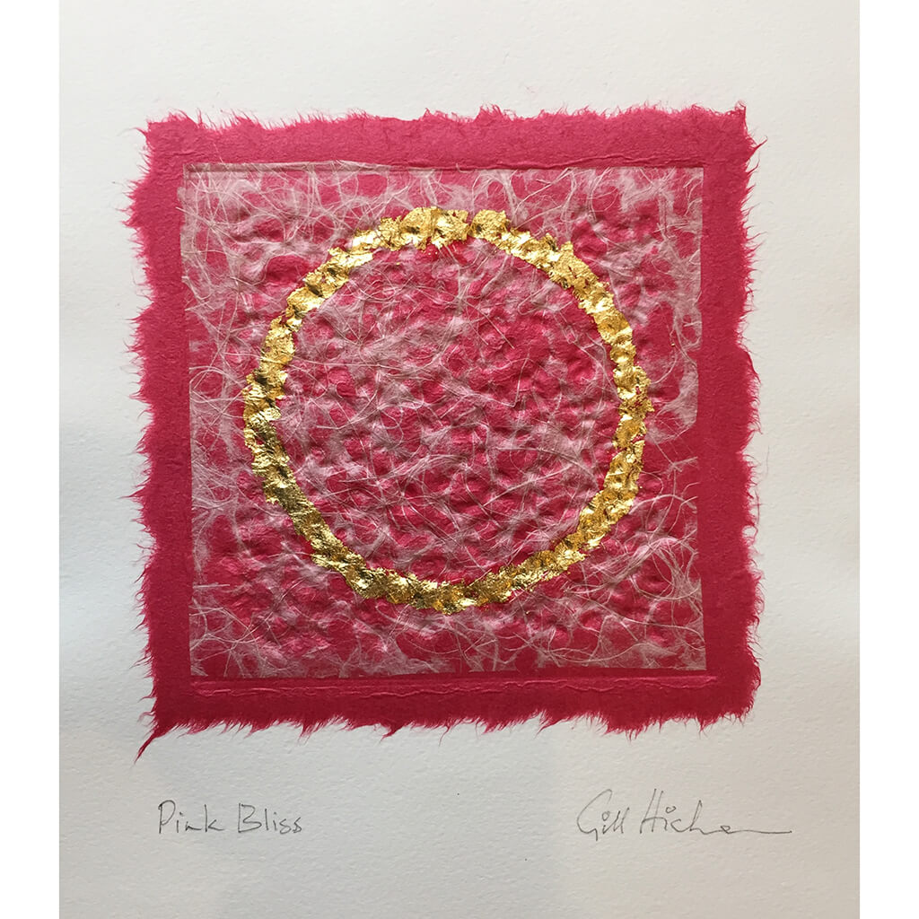 Pink Bliss embossed collage with real gold leaf circle by London based textural artist Gill Hickman