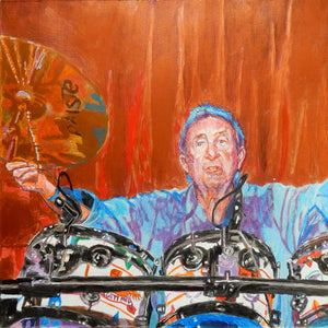 Pink Floyds Nick Mason at the Half Moon Putney mixed media portrait of by London based musician artist Stella Tooth Detail