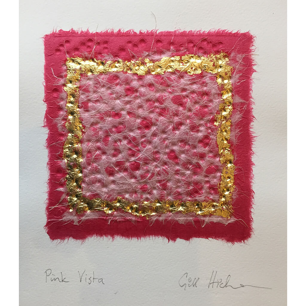 Pink Vista by Gill Hickman Embossed Collage