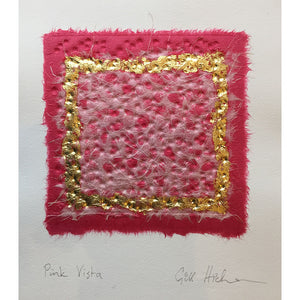 Pink Vista embossed collage with real gold leaf square by London based textural artist Gill Hickman
