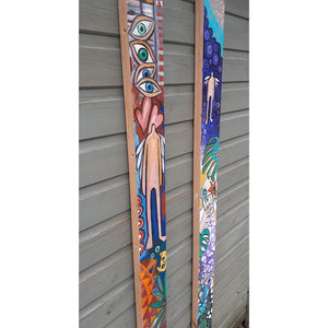 Plank of Life by Wilf Frost original artwork painted in bright colours onto two thick plywood planks with oil and acrylic side